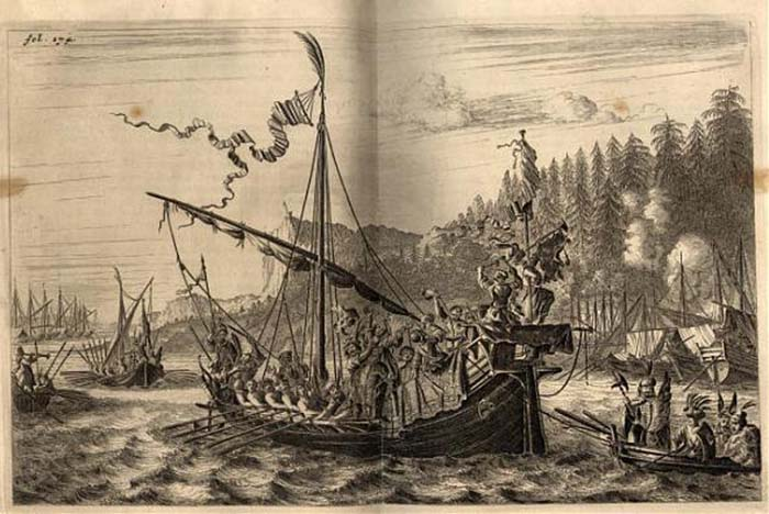 Так выглядит остров и  флот Разина на старинной гравюре, опубликованной в книге «Три путешествия» Яна Стрейса.